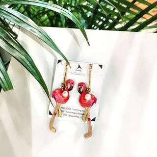 🚚 Humming 設計師品牌紅鶴耳環(全新)