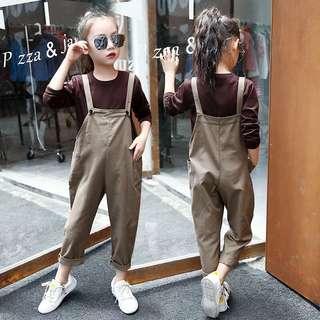 Girls casual bib pants suit autumn new 2017 Korean big children wide leg pants children long sleeve two-piece