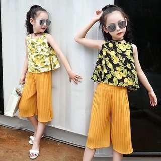 2018 New Summer Girls Girls Mango Print Sleeveless T-shirt Cropped Pants Children's Chiffon Set