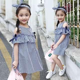 2018 new fresh fashion girls big children Korean casual comfortable cute wild wind strapless blue vertical skirt