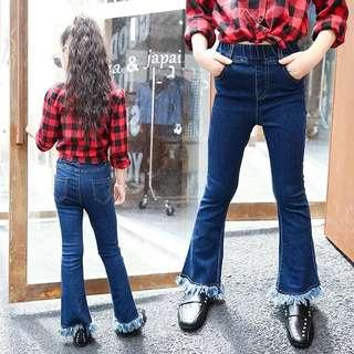2018 Spring Girls New Flare Jeans Must Have Jeans Leggings Pure Tassel Long Tube Flare