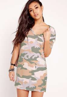 Missguided Camo T-Shirt Dress Size 2