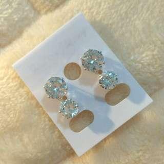 Silver Diamond Ear Stud - 2 Pairs