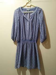 UNI QLO Blue Printed Dress