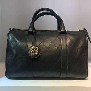 正品 90%新 Chanel Vintage 黑色菱格牛皮手挽斜揹旅行袋