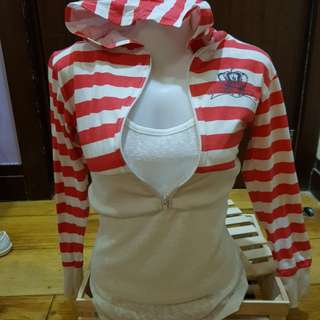 Red and white striped crop hoodie