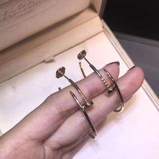 卡地亞Cartier 光金釘子耳環