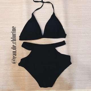 Olivie Black Highwaist Two Piece Swimsuit Black Bikini