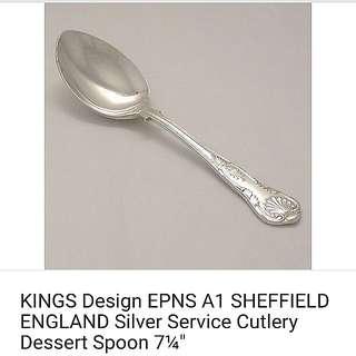King's Design Vintage Silver dessert tea spoon. EPNS A1 Sheffield England.