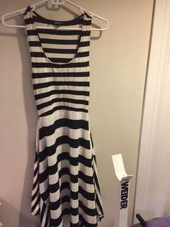Long summet dress strip black n white