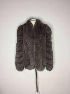 原價近三萬 全新名媛氣質高級豪華真貂毛 Real Saga Fox Mink超美灰色外套