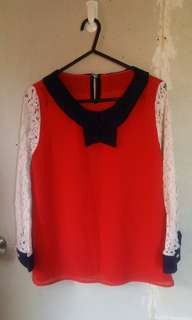 Preloved Red lace Blouse