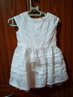 Preloved White Formal dress for baby with shoes