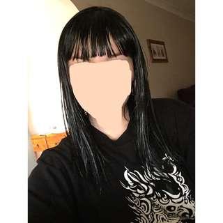 Black wig with front fringe