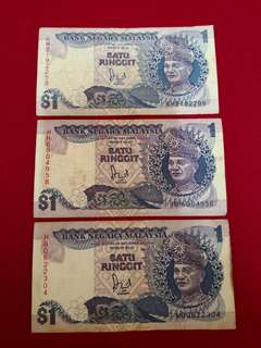 RM1 Malaysia Old Note 3pcs
