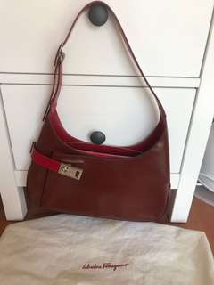 Ferragamo red calfskin shoulder bag