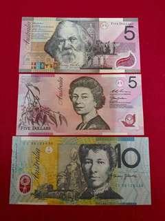 Australia Dollar Note 5, 5, 10