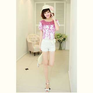 Korean Style Fashionable Casual White Lace Short Pants