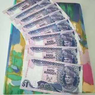 MALAYSIA RM1 6th Series x 8 pcs