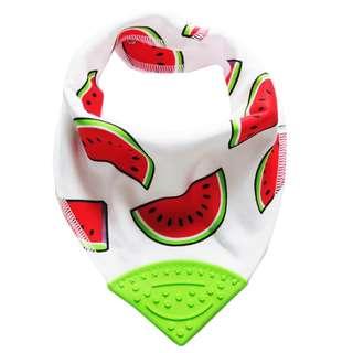 Bandana Chewable Teething Bib with Teether - Watermelon