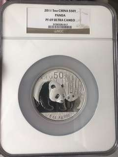 Panda silver coin 5oz 2011 PF 69 ultra cameo