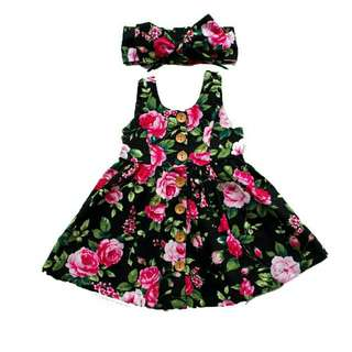 Cute Floral Mini Dress + Turban