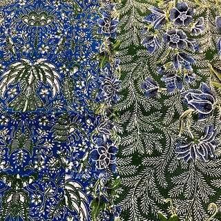 Vintage Blue Green White Peranakan Sarong