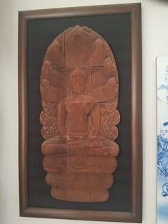 Antique teakwood Carved Buddha Frame up