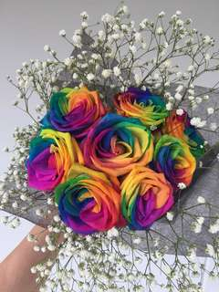 Fresh Rainbow roses bouquet