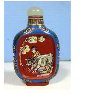 Antique hand crafted Yixing Zisha snuff bottle boy farmer buffalo Qing Period