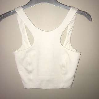 White fitted crop