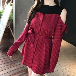 Gina dress red wine (import)