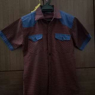 Men's Red Short Sleeve Shirt Pattern Sytle Fashion Design