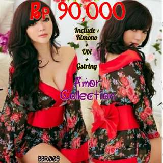 Lingerie seksi kostum kimono jepang bunga2 (BBR009) By AMORCOLLECTION