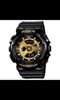 Casio baby-g black gold with free fila watch