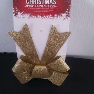 Merry Christmas : 3D Ribbon (set A : gold new)