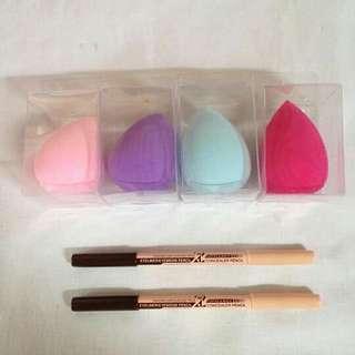 1 beauty blender sponge w/ 2 menow eyebrow pencil