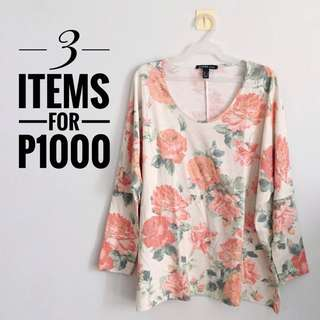 Mango Floral Batwing Sleeves Top Size S