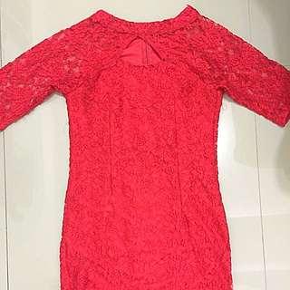 Dress brukat pendek merah
