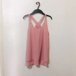 Pink Strappy Tank Top
