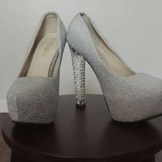 Platform Glitter Wedding Shoes With Clear Acrylic Heels