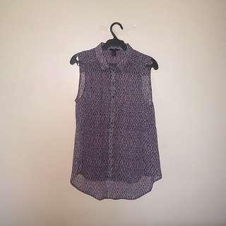 H&M Purple Aztec See-through Sleeveless