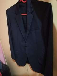 Handmade genuine wool navy blue suit and pants