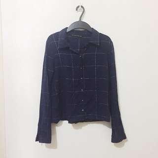 Zara Cropped Navy Blouse