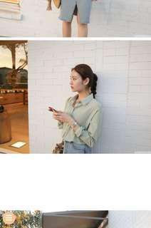 🚚 Cherrykoko正韓果漾蘋果綠襯衫 soft green blouse