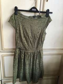 H&M divided army green lace cocktail dress