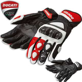 Ducati corse full carbon fiber leather protection gloves racer track red black wrist