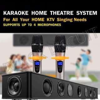Karaoke KTV SoundBar System With Wireless Microphone Built In Amplifier Home Sound Bar