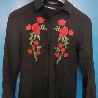 Black Floral Polo