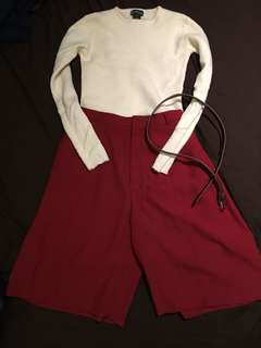 A cute set with sweater and mid pant (belt)